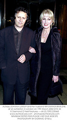 Actress JOANNA LUMLEY and her husband MR STEPHEN BARLOW, at an exhibition in London on 19th March 2002.OYK 34