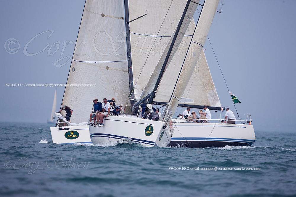 NYYC Swan 42 Class rounding the windward mark at the NYYC Race Week at Newport, day 3. This race was  abandoned on the next leg because of violent thunder storms.