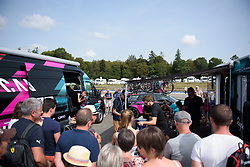 Fans crowd around CANYON//SRAM Racing wanting a glimpse of Pauline Ferrand Prevot at Grand Prix de Plouay Lorient Agglomération a 121.5 km road race in Plouay, France on August 26, 2017. (Photo by Sean Robinson/Velofocus)