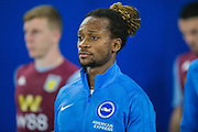 Gaetan Bong (Brighton) coming on to the pitch ahead of the EFL Cup match between Brighton and Hove Albion and Aston Villa at the American Express Community Stadium, Brighton and Hove, England on 25 September 2019.