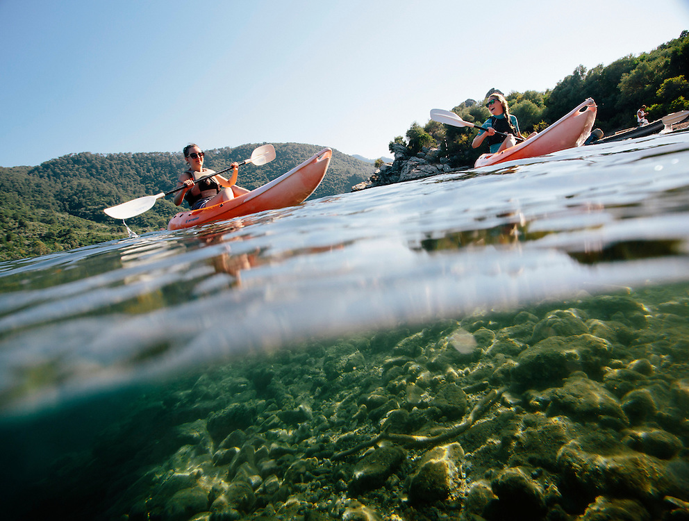 Amy and Rebecca go kayacking, Adakoy Beachclub, Turkey