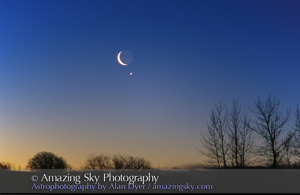 Conjunction of Waning crescent Moon near Venus, February 2, 2000 in morning sky.200mm telephoto lens.from home in Alberta, early in morning (#1 is same event but a few minutes earlier in darker sky)