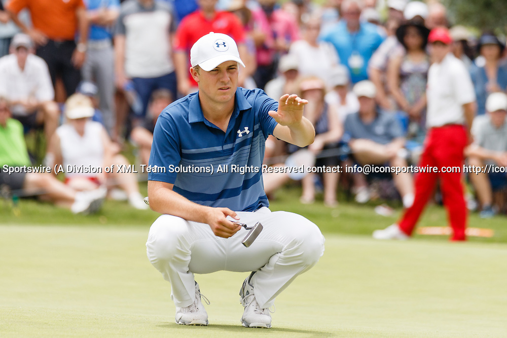 22 MAY 2016: Jordan Spieth lines up his putt on #2 during the Final Round of the AT&T Byron Nelson Championship at TPC Four Seasons Resort in Irving, TX.  (Photo by Andrew Dieb/Icon Sportswire)
