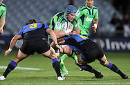 Josh Bekhuis charges into the Force defence..Investec Super Rugby - Highlanders v Force, 3 June 2011, Carisbrook Stadium, Dunedin, New Zealand..Photo: Rob Jefferies / www.photosport.co.nz