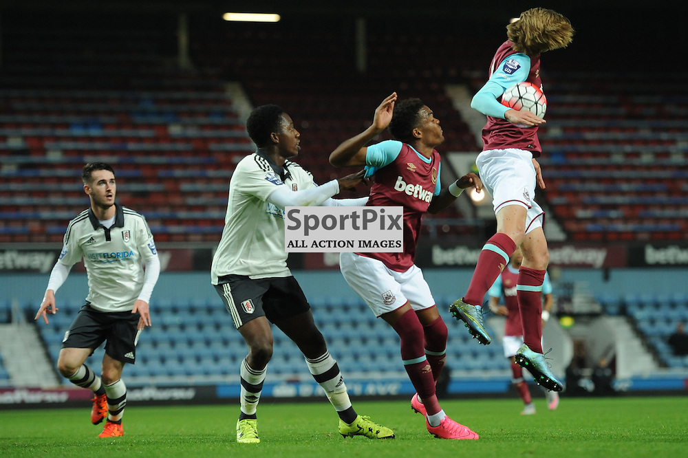 West Ham's Jaani Gordon appears to handle the ball during the West Ham u21 v Fulham u21 match in the Barclays U21 Premier League Division 2 on 26th October 2015.