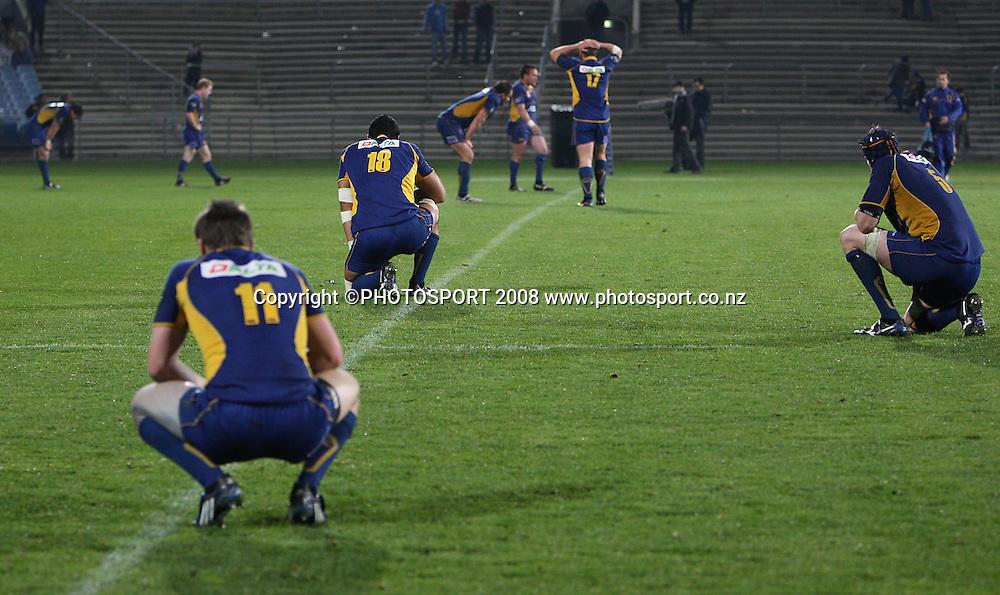 Dejected Otago players after there loss to Taranaki.<br /> Air NZ Cup, Otago v Taranaki, Carisbrook, Dunedin, Friday 19 September 2008. Photo: Rob Jefferies/PHOTOSPORT