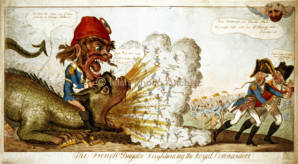 The French Bugabo Frightening the Royal Commanders' Isaac Cruikshank, April 1797. Bonaparte, on dragon spitting men and weapons. Archduke Charles, Duke of York, and Austrian army on the run. The Pope lies crushed by monster.