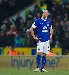 23.02.2013, Carrow Road, Norwich, ENG, Premier League, Norwich City vs FC Everton, 27. Runde, im Bild Everton's Leon Osman looks dejected as Norwich City score an injury time winning goal during the English Premier League 27th round match between Norwich City FC and Everton FC at Carrow Road, Norwich, Great Britain on 2013/02/23. EXPA Pictures © 2013, PhotoCredit: EXPA/ Propagandaphoto/ David Rawcliffe..***** ATTENTION - OUT OF ENG, GBR, UK *****