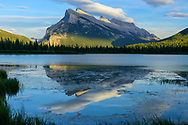 North America, Canada, Canadian,Alberta, Rocky Mountains, Banff National Park, Mount Rundle at Vermilion Lakes