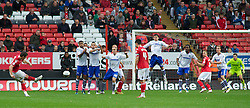 LONDON, ENGLAND - Saturday, October 8, 2011: Tranmere Rovers' players defend a free kick from Charlton Athletic's Yann Kermorgant during the Football League One match at The Valley. (Pic by Gareth Davies/Propaganda)