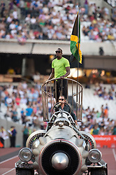 © Licensed to London News Pictures. 26/07/2013. London, United Kingdom. Usain Bolt is paraded at the start of the IAAF Diamond League Sainsbury's Anniversary Games 2013. Photo credit : Justin Setterfield/LNP