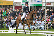 MIRAGE D'ELLE ridden by Pippa Funnell takes the lead in the competition before lunch at Bramham International Horse Trials 2016 at Bramham Park, Bramham, United Kingdom on 10 June 2016. Photo by Mark P Doherty.