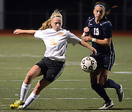 DOYLESTOWN, PA - OCTOBER 6: Central Bucks West's Mary Kate Vinkler #19 fights for a loose ball with Council Rock South's Rebecca Davey #13 in the first half at Central Bucks West October 6, 2014 in Doylestown, Pennsylvania. (Photo by William Thomas Cain/Cain Images)