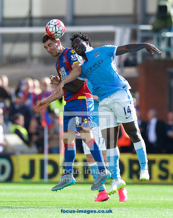 James McArthur of Crystal Palace and  Wilfried Bony of Manchester City challenge for the header during the Barclays Premier League match at Selhurst Park, London<br /> Picture by Alan Stanford/Focus Images Ltd +44 7915 056117<br /> 12/09/2015
