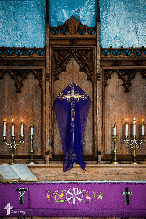 The altar adorned for Lent at St. Thomas Lutheran Church, Baltimore, on Saturday, March 24, 2018. LCMS Communications/Erik M. Lunsford