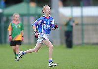 21 Aug 2016:  Girls U12 Gaelic football final, Skryne, Meath (blue) v Clontibret, Monaghan (green).  2016 Community Games National Festival 2016.  Athlone Institute of Technology, Athlone, Co. Westmeath. Picture: Caroline Quinn