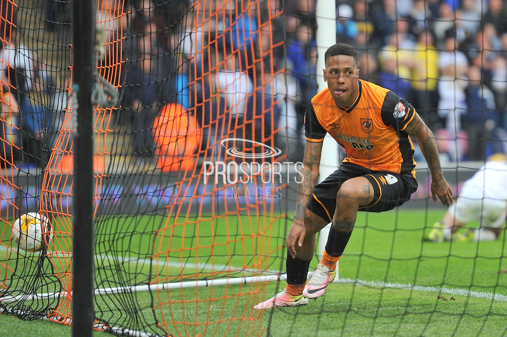 Hull City striker Abel Hernandez (9) scores goal for hull to go 1 all during the Sky Bet Championship match between Hull City and Leeds United at the KC Stadium, Kingston upon Hull, England on 23 April 2016. Photo by Ian Lyall.