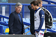 Everton Manager Carlo Ancelotti  talks with Everton defender Leighton Baines (3) during the Premier League match between Everton and Bournemouth at Goodison Park, Liverpool, England on 26 July 2020.