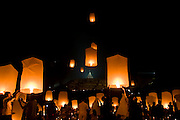 the people and visitors participate to fly the lantern  during the celebration vesak day at  Borobudur tample, Central Java, Indonesia