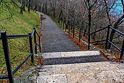 footpath in an urban park. Photographed in Budapest Hungary