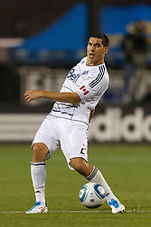 July 20, 2011; Santa Clara, CA, USA;  Vancouver Whitecaps defender Michael Boxall (2) passes the ball against the San Jose Earthquakes during the second half at Buck Shaw Stadium. San Jose tied Vancouver 2-2.