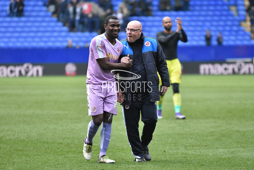 Reading Manager, Brian McDermott  congratulates Reading On Loan Forward, Ola John and goal scorer during the Sky Bet Championship match between Bolton Wanderers and Reading at the Macron Stadium, Bolton, England on 2 April 2016. Photo by Mark Pollitt.