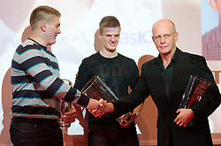 Blaz Zupanci, Jan Petrac and coach Svjetlan Vujasin during the Slovenia's Athlete of the year award ceremony by Slovenian Athletics Federation AZS, on November 12, 2008 in Hotel Mons, Ljubljana, Slovenia.(Photo By Vid Ponikvar / Sportida.com) , on November 12, 2010.