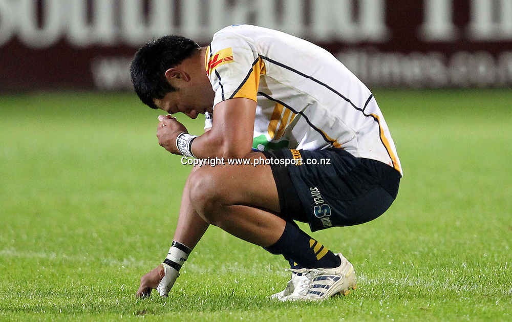A dejected Christian Lealiifano after the Brumbies loss to the Highlanders.<br /> Investec Super Rugby - Highlanders v Brumbies, 1 April 2011, Rugby Park, Invercargill, New Zealand.<br /> Photo: Rob Jefferies / www.photosport.co.nz