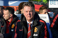 Manchester United Manager Louis van Gaal arriving at the dugout before k/o. Barclays Premier league match, Queens Park Rangers v Manchester Utd at Loftus Road in London on Saturday 17th Jan 2015. pic by John Patrick Fletcher, Andrew Orchard sports photography.