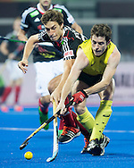 BHUBANESWAR (India) -  Hero Champions Trophy hockey men. Semifinal Germany vs Australia. Fergus Kavanagh of Australia with Benedikt Fürk (l) of Germany.  .Photo Koen Suyk