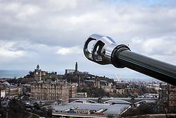 The Balmoral Hotel and Calton Hill, Edinburgh as seen from the Edinburgh Castle Esplanade.