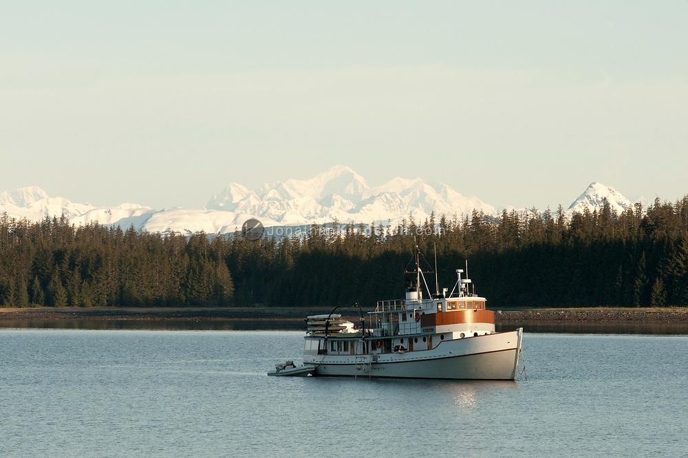 A small passenger ship anchored in Bartlett Cove, Glacier Bay N.P..