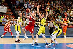 11.10.2014, ENERVIE Arena, Hagen, GER, Beko Basketball BL, Phoenix Hagen vs FC Bayern Muenchen, 4. Runde, im Bild Anton Gavel (FC Bayern Muenchen #25) gegen drei Hagener u.a. Moritz Krume (Phoenix Hagen #11) und Keith Ramsey (Phoenix Hagen #35-re-) // during the Beko Basketball Bundes league 4th round match between Phoenix Hagen and FC Bayern Muenchen at the ENERVIE Arena in Hagen, Germany on 2014/10/11. EXPA Pictures &copy; 2014, PhotoCredit: EXPA/ Eibner-Pressefoto/ Schueler<br /> <br /> *****ATTENTION - OUT of GER*****