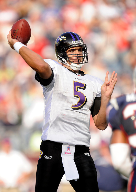 FOXBORO, MA - OCTOBER 04: Joe Flacco #5  the Baltimore Ravens drops back to pass against the New England Patriots at Gillette Stadium on October 4, 2009 in Foxboro, Massachusetts. The Patriots defeated the Ravens 27 to 21. (Photo by Rob Tringali) *** Local Caption *** Joe Flacco
