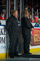 KELOWNA, CANADA - NOVEMBER 11: The ice crew stands at the door on the ice at the Kelowna Rockets against the Red Deer Rebels on November 11, 2017 at Prospera Place in Kelowna, British Columbia, Canada.  (Photo by Marissa Baecker/Shoot the Breeze)  *** Local Caption ***