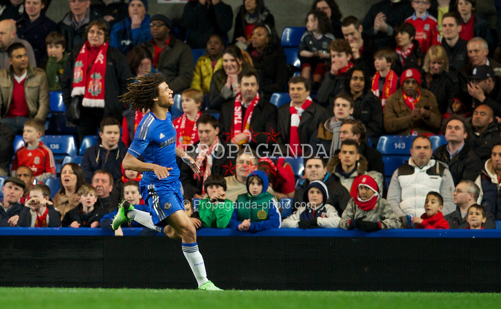 LONDON, ENGLAND - Friday, April 19, 2013: Chelsea's Nathan Ake celebrates scoring the second goal against Liverpool during the FA Youth Cup Semi-Final 2nd Leg match at Stamford Bridge. (Pic by David Rawcliffe/Propaganda)