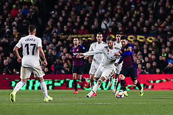 February 6, 2019 - Barcelona, Spain - 10 Leo Messi of FC Barcelona defended by 04 Sergio Ramos of Real Madrid during the semi-final first leg of Spanish King Cup / Copa del Rey football match between FC Barcelona and Real Madrid on 04 of February of 2019 at Camp Nou stadium in Barcelona, Spain  (Credit Image: © Xavier Bonilla/NurPhoto via ZUMA Press)