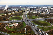 Nederland, Limburg, Geleen, 15-11-2010; Knooppunt Kerensheide (A76 - A2).QQQ.luchtfoto (toeslag), aerial photo (additional fee required).foto/photo Siebe Swart