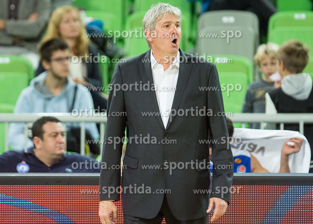 Ales Pipan, head coach of MZT Skopje during basketball match between KK Union Olimpija Ljubljana and MZT Skopje Aerodrom in Round #1 of ABA League 2015/16, on October 1, 2015 in Arena Stozice, Ljubljana, Slovenia. Photo by Vid Ponikvar / Sportida