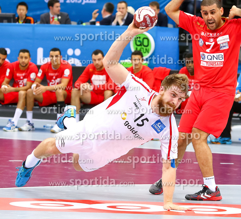 19.01.2015, Ali Bin Hamad Al Attiyah Arena, Doha, QAT, IHF, Handball Weltmeisterschaft der Herren, Gruppe B, Österreich vs Tunesien, im Bild Fabian Posch (AUT) // during the IHF Handball World Championship group B match between Austria and Tunisia at the Ali Bin Hamad Al Attiyah Arena, Doha, Qatar on 2015/01/19. EXPA Pictures © 2015, PhotoCredit: EXPA/ Sebastian Pucher