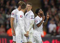 Raheem Sterling ( R ) of England celebrates after he scores to make it 2-0 - Mandatory byline: Paul Terry/JMP - 07966 386802 - 09/10/2015 - FOOTBALL - Wembley Stadium - London, England - England v Estonia - European Championship Qualifying - Group E