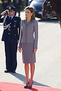 Queen Letizia of Spain received Michelle Bachelet Chilean President at Palacio de El Pardo on October 29, 2014 in Madrid