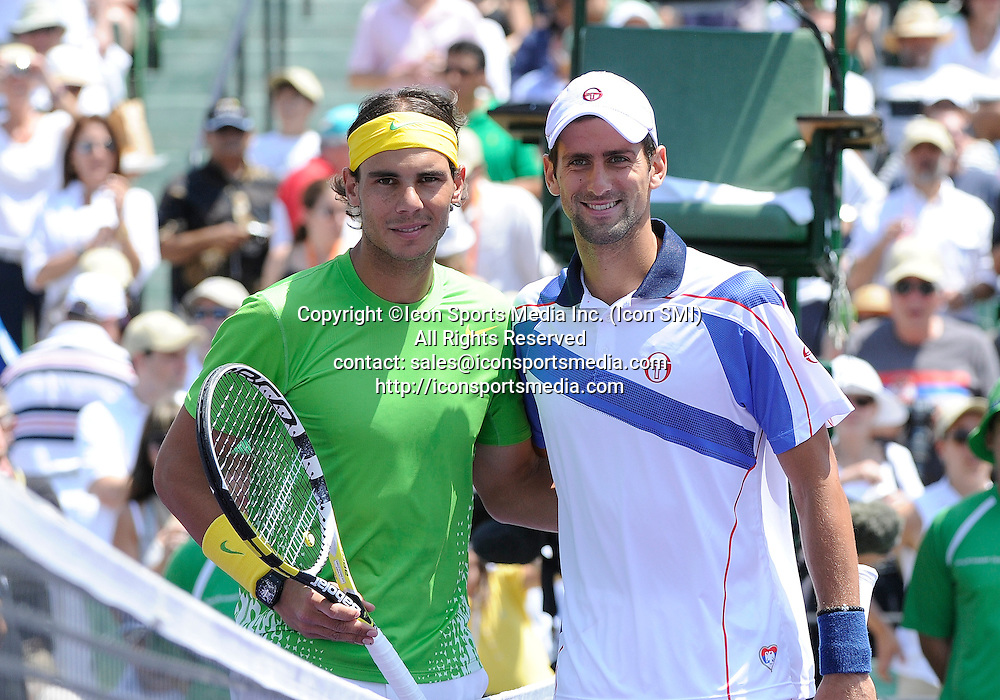 03 April 2011: Rafael Nadal and Novak Djokovic pose before the finals of the Sony Ericsson Open at the Tennis Center at Crandon Park, Key Biscayne, Florida.  Djokovic won the match 4-6 6-3 7-6 .