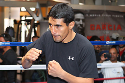 October 16, 2012; New York, NY; USA; Erik Morales works out for the media ahead of his fight against Danny Garcia Saturday night at the Barclay's Center in Brooklyn, NY.
