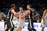 Real Madrid's Jaycee Carroll and Brose Bamberg's Lucca Steiger and Daniel Theis during Turkish Airlines Euroleague between Real Madrid and Brose Bamberg at Wizink Center in Madrid, Spain. December 20, 2016. (ALTERPHOTOS/BorjaB.Hojas)
