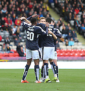 Nick Ross, Kane Hemmings and Riccardo Calder congratulate Greg Stewart after his winning goal - Partick Thistle v Dundee, Ladbrokes Premiership at Firhill<br /> <br />  - &copy; David Young - www.davidyoungphoto.co.uk - email: davidyoungphoto@gmail.com
