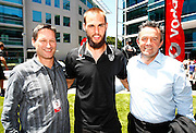 Vodafone CEO Russell Stanners, Warriors captain Simon Mannering and Warriors CEO Wayne Scurrah. Vodafone Warriors press conference to announce a 4 year sponsorship extension from Vodafone. Vodafone Head Office, Viaduct Harbour, Auckland.  Thursday 10 December 2009. Photo: Simon Watts/PHOTOSPORT