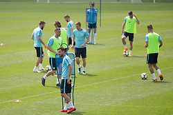Players during training of Slovenian national football team before friendly match against Montenegro, on May 30, 2018 in National Football Centre, Brdo pri Kranju, Kranj, Slovenia. Photo by Urban Urbanc / Sportida