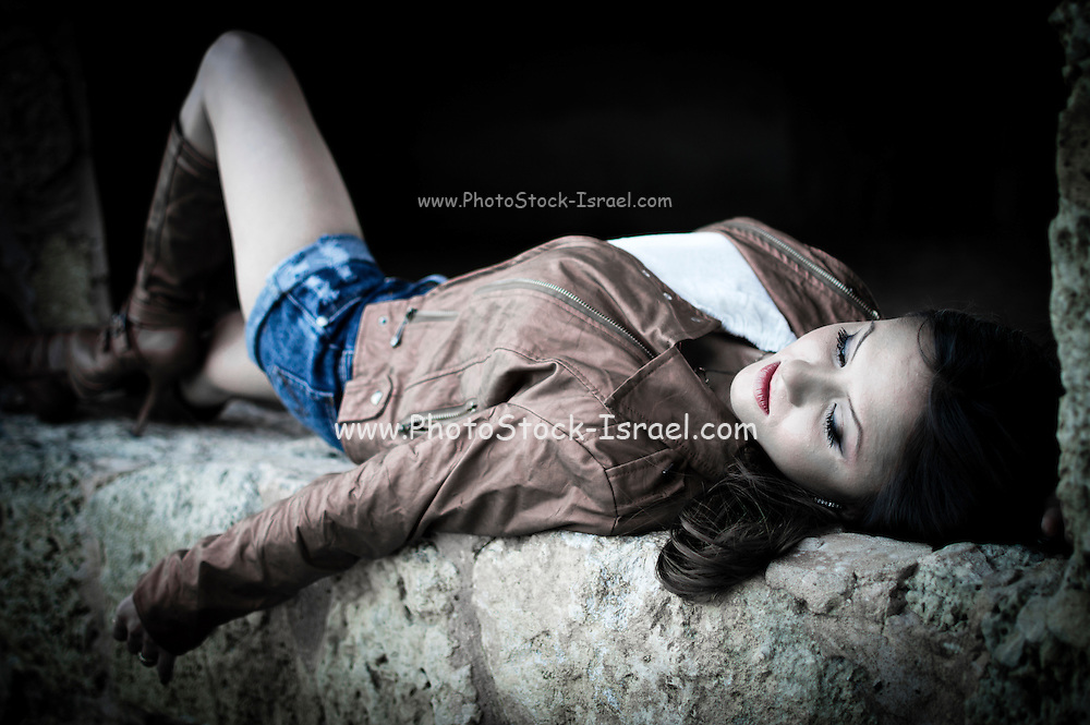 Young female model in leather jacket Model Released