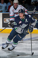 KELOWNA, CANADA - APRIL 22: Mathew Barzal #13 of Seattle Thunderbirds skates with the puck against the Kelowna Rockets on April 22, 2016 at Prospera Place in Kelowna, British Columbia, Canada.  (Photo by Marissa Baecker/Shoot the Breeze)  *** Local Caption *** Mathew Barzal;